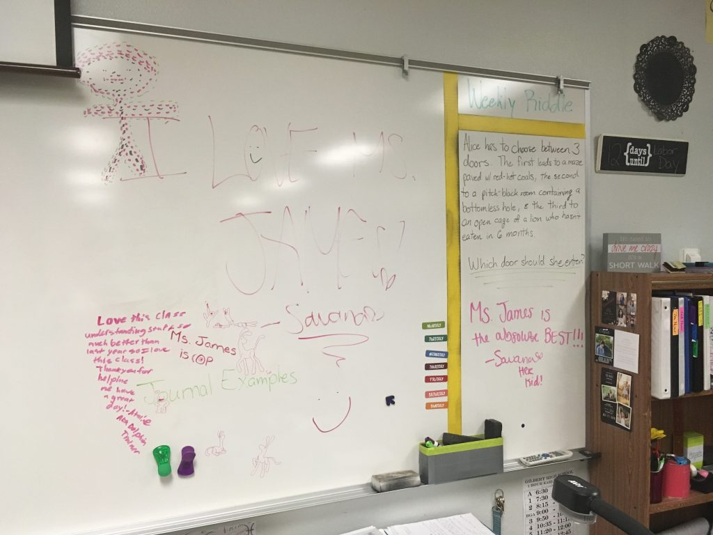 Whiteboard student messages and drawings in classroom