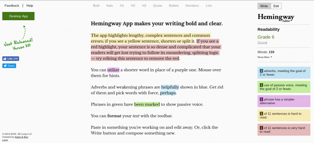 hemingwayapp.com editor editing